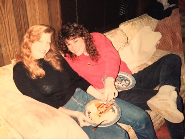 Olivia and Beth Obenshain (right) at a Loafing party in the early days.