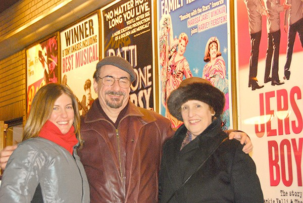 With daughter Ilana (left) and wife Sue at Schubert Alley on Broadway in New York