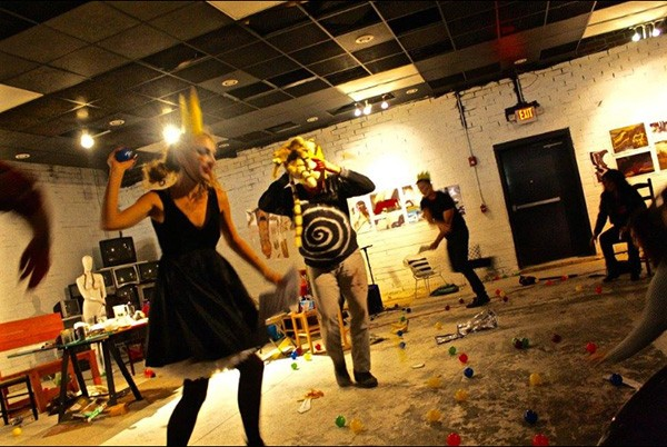 Kadey Ballard, Cosper and Adam Griffin get absurdist in Ubu Roi. (Photo by XOXO)