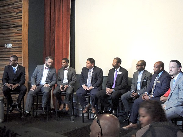 From left: Jesse Boyd, Larken Egleston, Justin Harlow, Daniel Herrera, Wil Russell, Damiko Faulkner, Gary Young and Matt Newton at a recent Charlotte Millenial Political Candidates Forum at Heist Brewery. (Photo by Ryan Pitkin)