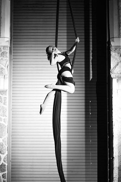 Laura Katharine glides upward.