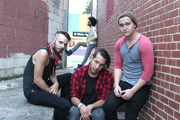 American idiots (l to r): Steven Buchanan (Will), Matt Carlson (Johnny), and Grant Zavitkovsky (Tunny); in background, Jeremy DeCarlos (St. Jimmy)