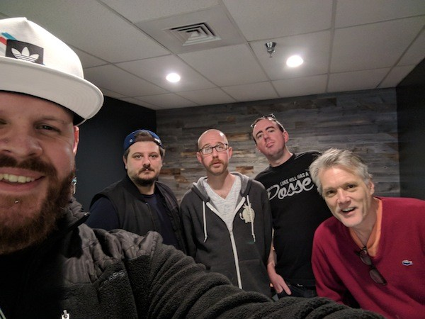 Studio selfie with [from left] Justin Aswell, Fred Rock and Red Jesse of Dead Sea $crilla, Ryan Pitkin and Mark Kemp.
