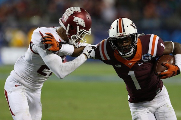 In last year's Belk Bowl, Virginia Tech defeated Arkansas 35-24. (Photo courtesy of Charlotte Sports Foundation)