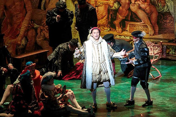 Tenor Raffaele Abete [pictured prominently] is the evil Duke of Mantua, who poaches on other men's wives. (Photo by Joel Bisselo for Opera Grand Rapids)