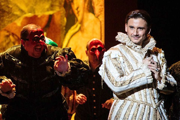 Tenor Raffaele Abete as the evil Duke of Mantua, who poaches on other men's wives. (Photo by Joel Bisselo for Opera Grand Rapids)