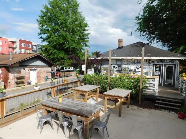 The back patio at NoDa Company Store. (All photos by Dana Vindigni)