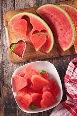 Watermelon cut into hearts on a plate - Uploaded by ajnewso2