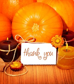 thank you card in front of fall pumpkins, flowers and candles - Uploaded by ajnewso2