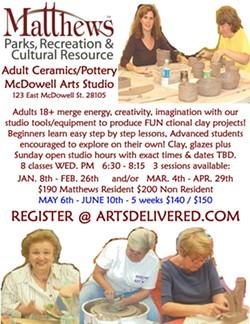 Matthews adult ceramics, pottery, glaze classes. - Uploaded by Rick E. Crowley