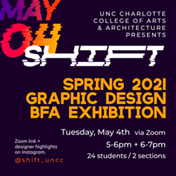 UNC Charlotte Spring 2021 Graphic Design BFA Virtual Exhibition - Uploaded by Kara Menck