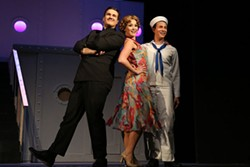 CHRIS RECORD - Jacob Estes as Moonface Martin, Ashtyn Hutchings as Reno Sweeney, and Matthew Blake Johnson as Billy Crocker in Anything Goes.