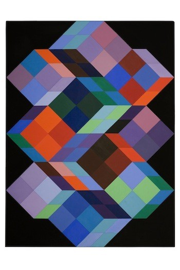 VICTOR VASARELY, TRIDEM K, 1968, ACRYLIC ON CANVAS © 2013 ARTISTS RIGHTS SOCIETY (ARS), NEW YORK / ADAGP, PARIS. - On view at Bechtler Museum of Modern Art.
