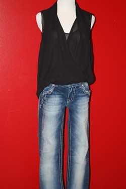 Vince Camuto top, Miss Me jeans - orig $188, clearance $20