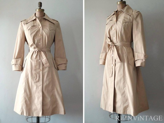 vintage khaki caramel trench coat