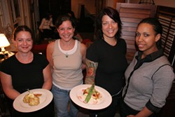 CATALINA KULCZAR - Wait staff at Pearl with crab cakes and teriaki chicken