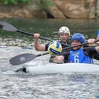 WATER, WATER EVERYWHERE: The Carolina Kayak Polo Club (in blue) in action