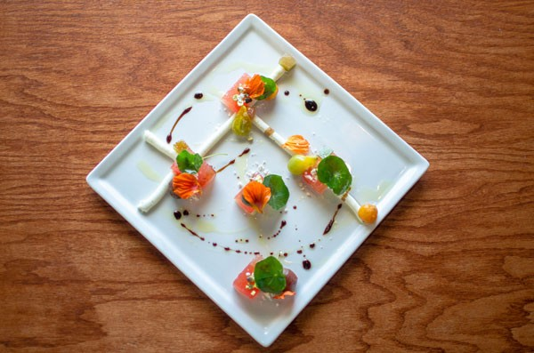 Watermelon and goat cheese plate - JONATHAN COOPER