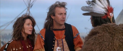 WHERE THE BUFFALO ROAM: Mary McDonnell, Kevin Costner and Graham Greene in Dances With Wolves