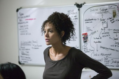 ... while Mariane Pearl (Angelina Jolie) copes with an unfolding tragedy in A Mighty Heart