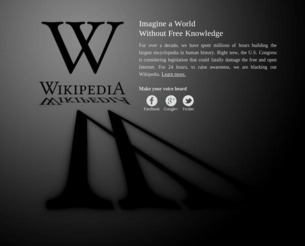 Wikipedia.orgs SOPA protest page