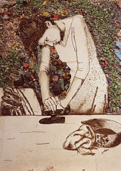 DIGITAL C-PRINT, 103 ¾ X 74 ¾ INCHES; COLLECTION OF HEATHER AND TONY PODESTA, WASHINGTON, D.C.; ART © VIK MUNIZ/LICENSED BY VAGA, NEW YORK, NY - WOMAN IRONING (ISIS), PICTURES OF GARBAGE, 2008, by Vik Muniz