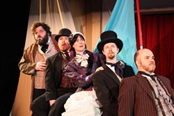 THEATRE CHARLOTTE - WORLD TRAVELERS: (l-r) Peter Smeal, Philip Robertson, Andrea King, Robert Crozier and Lee Thomas in Around the World in 80 Days