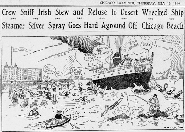 A Chicago Examiner comic from July 16, 1914, the day after the Silver Spray hit Morgan Shoal and two days before waves finally broke the ship apart. - COURTESY OF CHICAGO PUBLIC LIBRARY