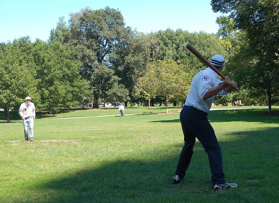 A Chicago Salmon striker prepare to hit a pitch from a House of David Echoes hurler