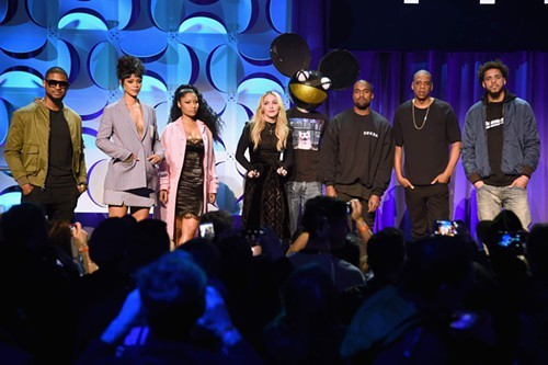 A few of the celebrities who stood awkwardly on stage during yesterdays Tidal press conference