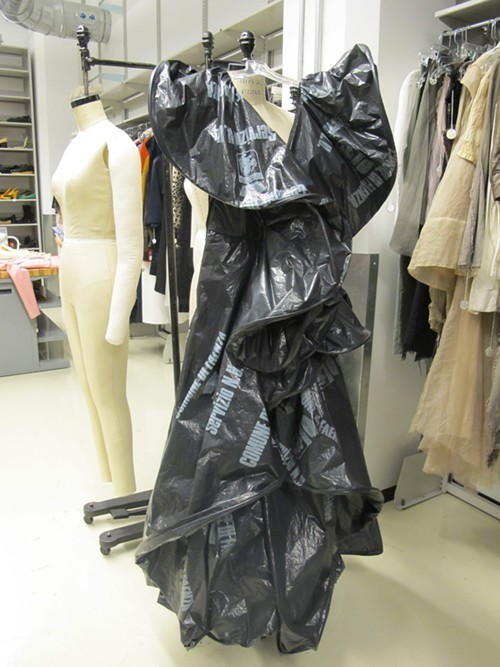 A Moschino dress made out of trash bags