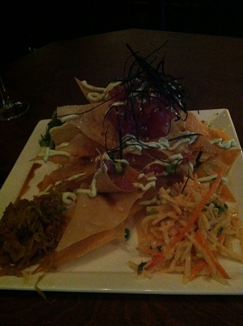A not-great picture of Gallery Bars tuna nachos
