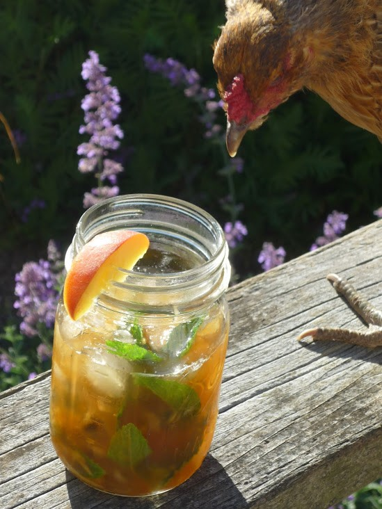A peach julep and Bess, the chicken.