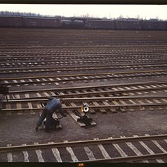 A rail man throws a switch at Chicago's Proviso Yard in 1943.