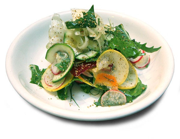 A salad of raw summer vegetables sprinkled with fennel pollen - JULIA THIEL