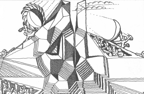 "A satirical architectural sketch, or ""architoon,"" which Tigerman invented - STANLEY TIGERMAN"