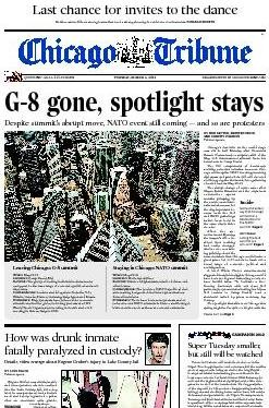 A screenshot of todays Tribune, as posted online Tuesday, March 6