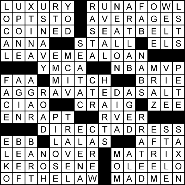 A Separate Piece crossword puzzle solution