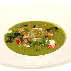 A vegetable soup made with hemp seed and garnished with lobster (among other things)