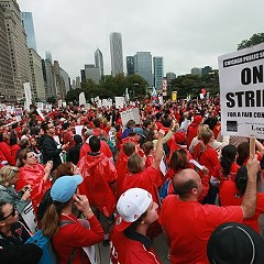 A year ago today, this happened: Teachers and their supports marched on Michigan Avenue.