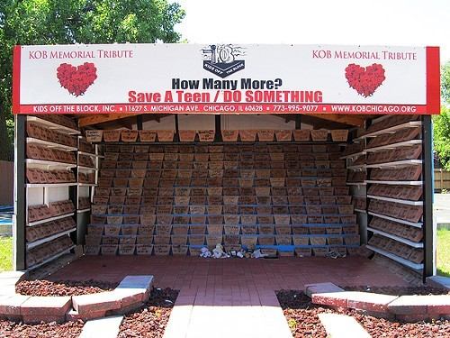 Activist Diane Latikers memorial to young lives lost is composed of close to 400 bricks, some 500 bricks fewer, she estimates, than the toll Chicagos violence has taken on those age 24 and under.