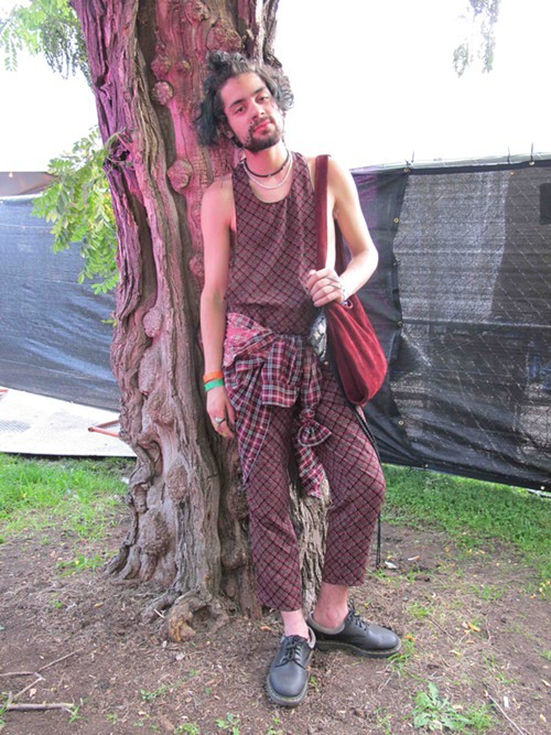 Alex. Came to see: Slowdive, Grimes, Kelela and FKA Twigs. Why this outfit? Im really into mixing prints lately. It feels very earthy but still very grungy. My style itself is grungy, but for festival wear I like to tap into my inner boho.
