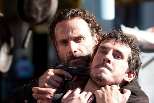 Alex (Tate Ellington) and Rick Grimes (Andrew Lincoln) in The Walking Dead