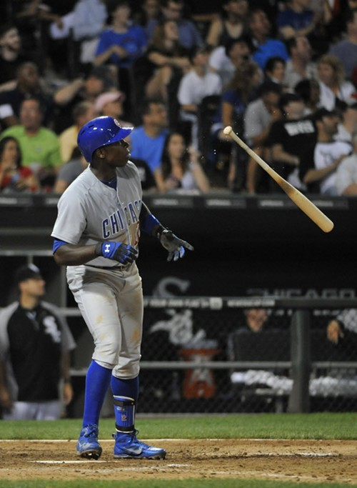 Alfonso Soriano admires his sixth-inning homer last night.