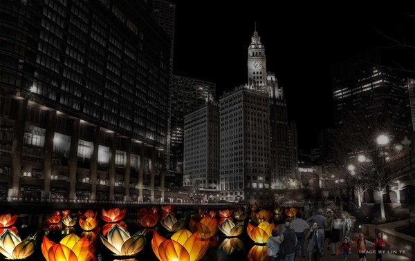 An artist's rendering of the Great Chicago Fire Festival, slated for October 4