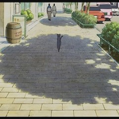 An early shot of a suburban street in The Cat Returns