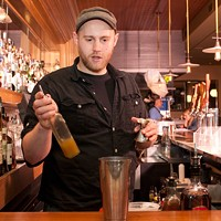 "Step-by-step instructions for making a Barrelhouse Flat bartender's sriracha cocktail And a quarter ounce of ginger syrup, made with ""equal parts ginger juice and sugar,"" Brinker specifies. Andrea Bauer"