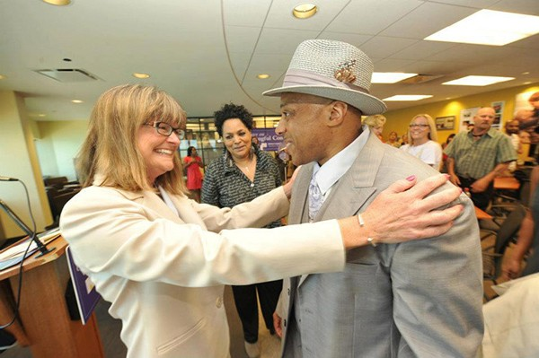 Andre Davis with the attorney, Jane Raley, who worked to free him - COURTESY JUDI STICKEL