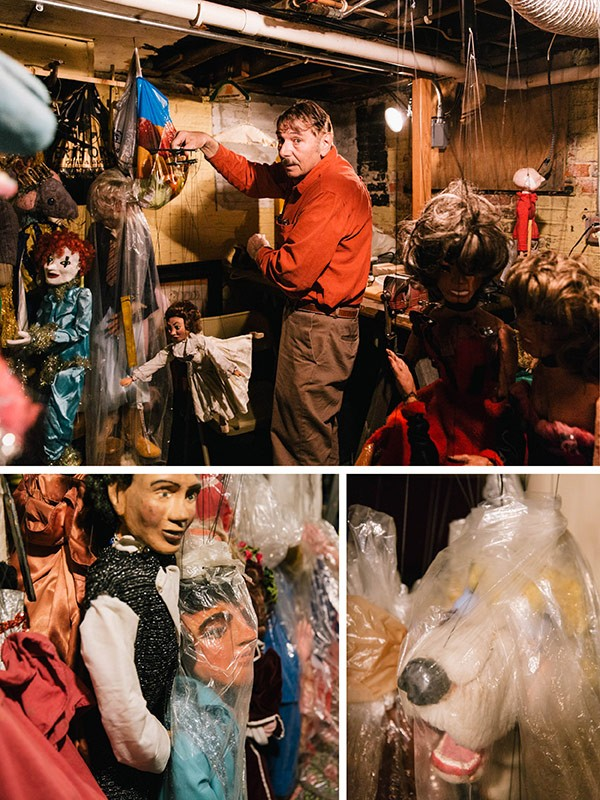 Approximately 300 handmade marionettes hang in Kipniss's Michigan City basement. Thousands more hang in limbo in Wicker Park. - RYAN LOWRY