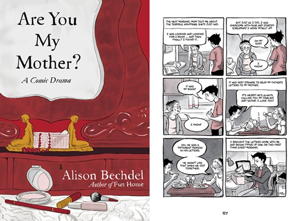Are You My Mother? (cover and one page above) offers no earth-shattering plot twist, just Alison Bechdel